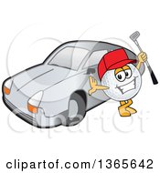 Golf Ball Sports Mascot Character Holding A Club By A Car