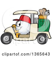 Clipart Of A Golf Ball Sports Mascot Character Driving A Cart Royalty Free Vector Illustration