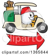 Clipart Of A Golf Ball Sports Mascot Character Driving A Cart Over An Arrow Royalty Free Vector Illustration