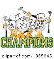 Clipart Of Golf Ball Sports Mascot Character Champions Royalty Free Vector Illustration by Toons4Biz
