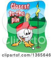 Clipart Of A Golf Ball Sports Mascot Character With Closest To The Pin Text Royalty Free Vector Illustration by Toons4Biz