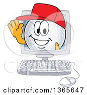 Clipart Of A Golf Ball Sports Mascot Character Waving From A Computer Screen Royalty Free Vector Illustration