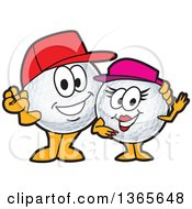 Clipart Of A Golf Ball Sports Mascot Character Couple Royalty Free Vector Illustration by Toons4Biz