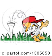 Clipart Of A Golf Ball Sports Mascot Character Bouncing Off The Tee Royalty Free Vector Illustration