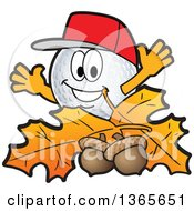 Clipart Of A Golf Ball Sports Mascot Character With Acorns And Autumn Leaves Royalty Free Vector Illustration