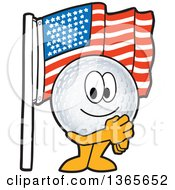Clipart Of A Golf Ball Sports Mascot Character Pledging Allegiance To The American Flag Royalty Free Vector Illustration