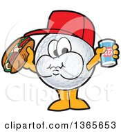 Clipart Of A Golf Ball Sports Mascot Character Holding A Beer And Eating A Hot Dog Royalty Free Vector Illustration by Toons4Biz