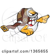 Clipart Of A Golf Ball Sports Mascot Character Bomber Flying Royalty Free Vector Illustration by Toons4Biz