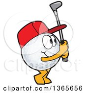 Clipart Of A Golf Ball Sports Mascot Character Swinging Royalty Free Vector Illustration by Toons4Biz