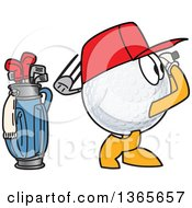 Clipart Of A Golf Ball Sports Mascot Character Swinging By A Bag Royalty Free Vector Illustration