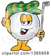 Clipart Of A Golf Ball Sports Mascot Character Holding Up A Finger Club And Wearing A Hat Royalty Free Vector Illustration by Toons4Biz