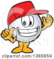 Clipart Of A Golf Ball Sports Mascot Character Wearing A Red Hat And Grinning Royalty Free Vector Illustration by Toons4Biz