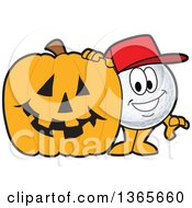 Clipart Of A Golf Ball Sports Mascot Character With A Halloween Jackolantern Pumpkin Royalty Free Vector Illustration by Toons4Biz