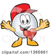 Clipart Of A Golf Ball Sports Mascot Character Wearing A Red Hat And Welcoming With A Heart Royalty Free Vector Illustration by Toons4Biz