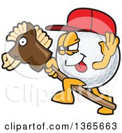 Clipart Of A Golf Ball Sports Mascot Character Wearing A Red Hat And Playing With A Stick Pony Royalty Free Vector Illustration