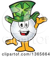 Clipart Of A Golf Ball Sports Mascot Character Wearing A St Patricks Day Hat Royalty Free Vector Illustration by Toons4Biz