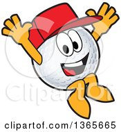Clipart Of A Golf Ball Sports Mascot Character Wearing A Red Hat And Jumping Royalty Free Vector Illustration by Toons4Biz