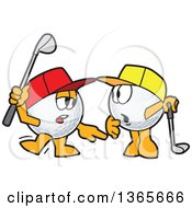 Clipart Of Golf Ball Sports Mascots Character Wearing Hats And Learning How To Play Royalty Free Vector Illustration by Toons4Biz