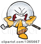 Clipart Of A Mad Golf Ball Sports Mascot Character Breaking A Club Over His Knee Royalty Free Vector Illustration by Toons4Biz