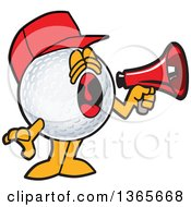 Clipart Of A Golf Ball Sports Mascot Character Wearing A Red Hat And Using A Megaphone Royalty Free Vector Illustration by Toons4Biz
