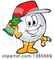 Golf Ball Sports Mascot Character Wearing A Red Hat And Holding Cash