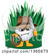 Clipart Of An Out Of Bounds Golf Ball Sports Mascot Character Explorer Royalty Free Vector Illustration by Toons4Biz