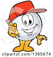 Clipart Of A Golf Ball Sports Mascot Character Wearing A Red Hat And Holding A Pencil Royalty Free Vector Illustration by Toons4Biz