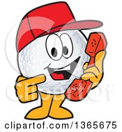 Clipart Of A Golf Ball Sports Mascot Character Wearing A Red Hat And Holding A Telephone Royalty Free Vector Illustration
