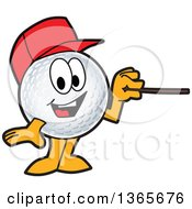 Clipart Of A Golf Ball Sports Mascot Character Wearing A Red Hat And Using A Pointer Stick Royalty Free Vector Illustration