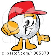 Clipart Of A Golf Ball Sports Mascot Character Wearing A Red Hat And Pointing Outwards Royalty Free Vector Illustration by Toons4Biz