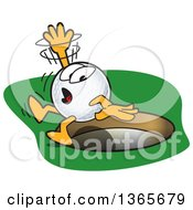 Clipart Of A Golf Ball Sports Mascot Character Falling Into A Hole Royalty Free Vector Illustration by Toons4Biz