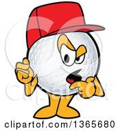 Clipart Of A Golf Ball Sports Mascot Character Wearing A Red Hat And Questioning Royalty Free Vector Illustration