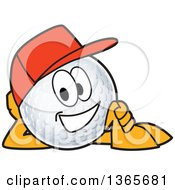 Clipart Of A Golf Ball Sports Mascot Character Wearing A Red Hat And Resting On His Side Royalty Free Vector Illustration