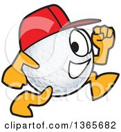 Clipart Of A Golf Ball Sports Mascot Character Wearing A Red Hat And Running Royalty Free Vector Illustration by Toons4Biz