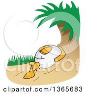 Clipart Of A Golf Ball Sports Mascot Character Relaxing In A Sand Trap Royalty Free Vector Illustration by Toons4Biz