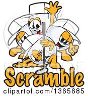 Clipart Of Golf Ball Sports Mascot Characters Over Scramble Text Royalty Free Vector Illustration by Toons4Biz