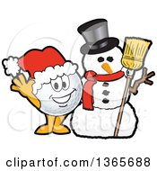 Clipart Of A Golf Ball Sports Mascot Character Waving By A Christmas Snowman Royalty Free Vector Illustration