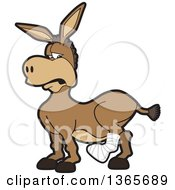 Clipart Of A Cartoon Donkey Mascot With A Leg In A Cast Royalty Free Vector Illustration