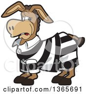 Clipart Of A Cartoon Donkey Mascot In A Jail Suit Royalty Free Vector Illustration by Toons4Biz