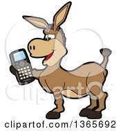 Clipart Of A Cartoon Donkey Mascot Holding A Cell Phone Royalty Free Vector Illustration