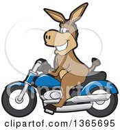 Clipart Of A Cartoon Donkey Mascot On A Blue Motorcycle Royalty Free Vector Illustration