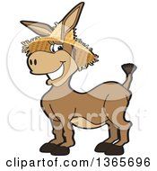 Clipart Of A Cartoon Donkey Mascot Wearing A Straw Hat Royalty Free Vector Illustration