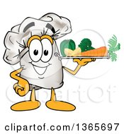 Toque Chefs Hat Mascot Character Serving Veggies On A Tray