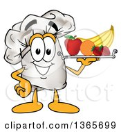 Clipart Of A Toque Chefs Hat Mascot Character Serving Fruit On A Tray Royalty Free Vector Illustration