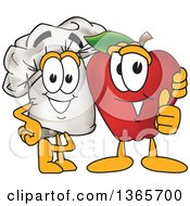 Clipart Of A Toque Chefs Hat Mascot Character Posing With A Red Apple Royalty Free Vector Illustration by Toons4Biz