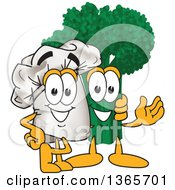 Toque Chefs Hat Mascot Character Posing With Broccoli