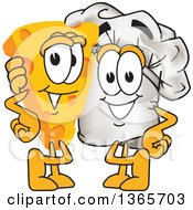 Clipart Of A Toque Chefs Hat Mascot Character Posing With A Cheese Wedge Royalty Free Vector Illustration by Toons4Biz