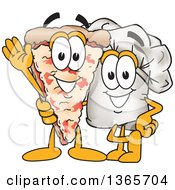 Toque Chefs Hat Mascot Character Posing With A Pizza Slice