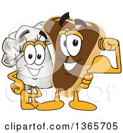 Clipart Of A Toque Chefs Hat Mascot Character Posing With A Flexing Beef Steak Royalty Free Vector Illustration