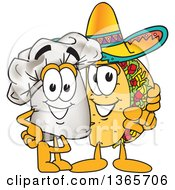 Toque Chefs Hat Mascot Character Posing With A Pointing Taco Character